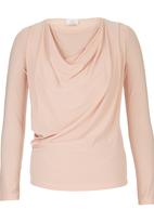edit - Long Sleeve Cowl Top Pale Pink