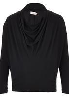 edit Maternity - Front Drape Knit Top Black