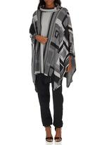 ONLY - Square Highneck Poncho Grey