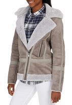 ONLY - Ava Bonded Sherpa Jacket Grey
