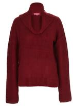 Passionknit - Chunky Relaxed Fit Drop-shoulder Jumper Dark Red