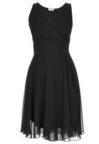ELIGERE - Layered Chiffon Dress Black