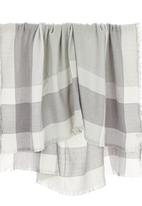 edit - Oversized Border Check Scarf Pale Grey
