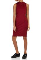c(inch) - High Neck Bodycon Dress Dark Red