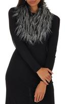 c(inch) - Fancy Faux Fur Collar Black and White