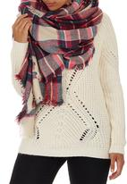 c(inch) - Plaid Oversized Scarf Dark Pink