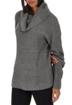 Passionknit - Chunky Relaxed Fit Drop-shoulder Jumper Dark Grey