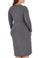 edit Plus - Pleated Wrap Dress Dark Grey