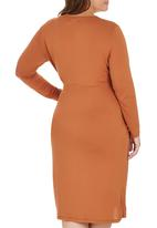 edit Plus - Pleated Wrap Dress Mid Brown