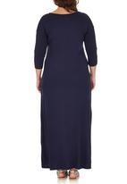 edit Plus - 3/4 Sleeve Maxi Dress Navy