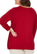 edit Plus - Long Sleeve Ruched T-shirt Dark Red