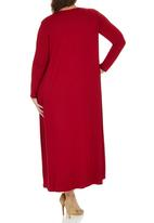 edit Plus - Maxi Length Cardigan Dark Red