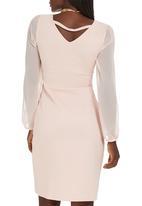STYLE REPUBLIC - Scalloped Bodycon Dress Pale Pink