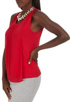 edit - Chiffon Overlay Cami Red