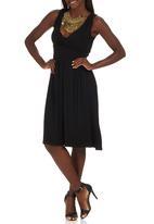edit - Lace Detail Drape Dress Black