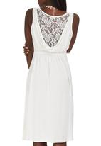 edit - Lace Detail Drape Dress Milk