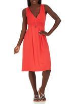 edit - Lace Detail Drape Dress Coral