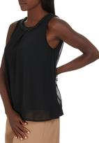 G Couture - Top with Beaded Neckline Black
