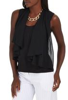 edit - Chiffon Overlay Blouse Black