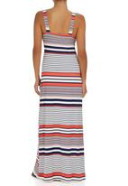 Revenge - Striped Empire Waist Maxi Dress Red