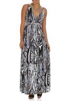 Revenge - Printed Empire Waist Maxi Dress Grey