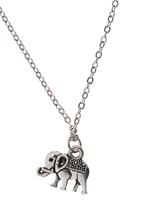 Jewels and Lace - Elephant Pendant Necklace Silver