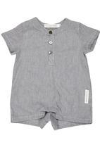 Tic Tac Toe - Pinstripe Shirt Romper Dark Grey