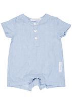 Tic Tac Toe - Pinstripe Shirt Romper Pale Blue