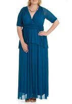 Jacoba - Mesh Sleeve Maxi Dress Turquoise