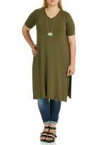 STYLE REPUBLIC PLUS - Side Slit T-shirt Khaki Green