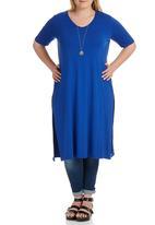 STYLE REPUBLIC PLUS - Side Slit T-shirt Dark Blue