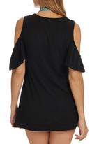 Royal T - Cold Shoulder Butterfly Sleeve Tunic Black