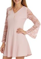 STYLE REPUBLIC - Lace Bell Sleeve Dress Pale Pink