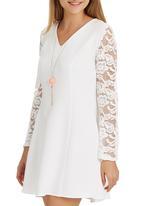 STYLE REPUBLIC - Lace Bell Sleeve Dress Milk
