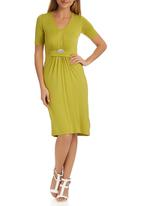 edit - Drape Knit Dress Chartreuse