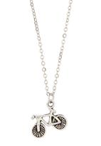 Jewels and Lace - Bicycle Pendant Necklace Silver