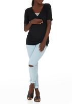 edit Maternity - Cross Over T-shirt with Stripe Inset Black