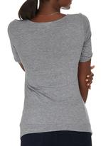 edit Maternity - Cross Over T-shirt with Inset Grey