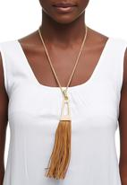 Joy Collectables - Long Necklace with Tassel Detail Mid Brown