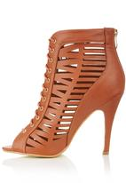 Dolce Vita - Open Toe Lace-up Heels Camel/Tan