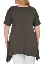 STYLE REPUBLIC PLUS - Cold Shoulder T-shirt Khaki Green