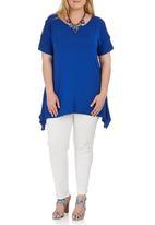 STYLE REPUBLIC PLUS - Cold Shoulder T-shirt Cobalt