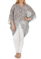 edit Plus - Kimono Blouse Black and White