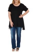 STYLE REPUBLIC PLUS - Cold Shoulder T-shirt Black