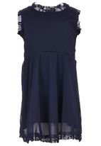 See-Saw - Mesh Dress with Lace Detail Navy
