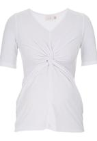 edit Maternity - Knot Top White