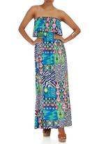 London Hub - Patchwork Strapless Maxi Dress Mid Blue
