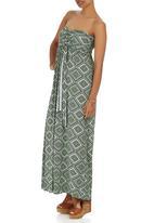 London Hub - Aztec Maxi Dress Mid Green