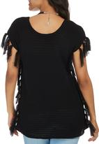 STYLE REPUBLIC - Fringe Knit Tunic Black