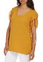 STYLE REPUBLIC - Fringe Knit Tunic Yellow